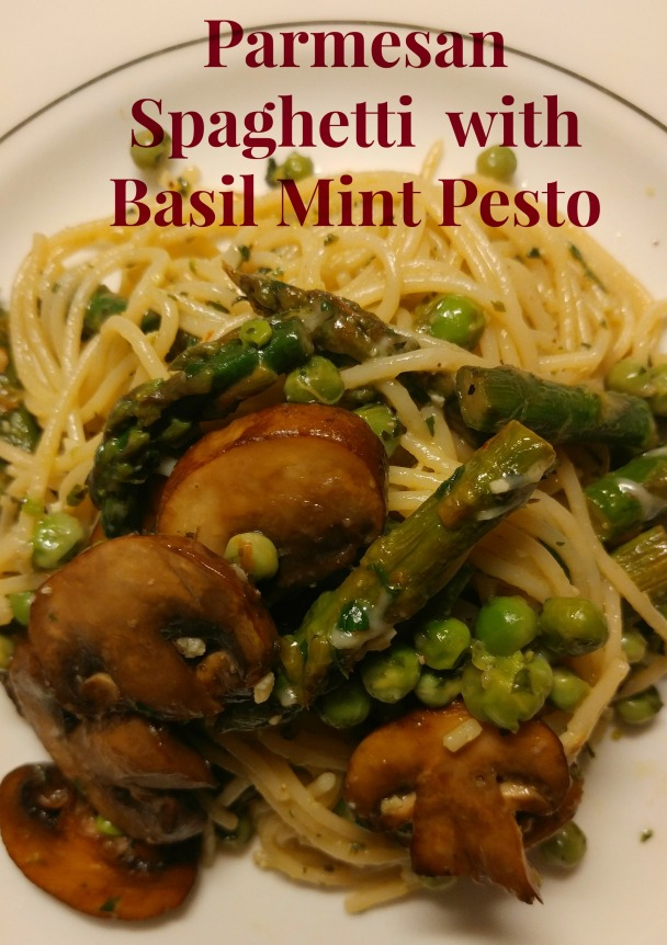 Parmesan spaghetti with basil mint pesto